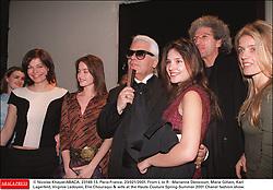 © Nicolas Khayat/ABACA. 23149-13. Paris-France, 23/021/2001. From L to R : Marianne Denicourt, Marie Gillain, Karl Lagerfeld, Virginie Ledoyen, Elie Chouraqui & wife at the Haute Couture Spring-Summer 2001 Chanel fashion show.