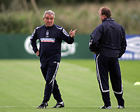 Photo: Paul Thomas.<br /> England training at Carrington. 30/08/2006. <br /> <br /> Terry Venables (L) and Steve McClaren.