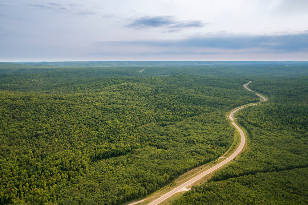 aerial view of the forest roads near Big Bay, Michigan.