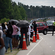 RAEFORD, NC - June 6: Mourners arrive to pay their respects to George Floyd at Impact Church, where a memorial service will be held in his honor in Raeford, NC on June 6, 2020. The 3 day tour will culminate with Floyd's funeral in Houston, Texas. (Photo by Logan Cyrus for AFP)