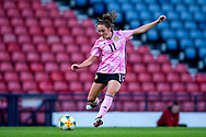 Lisa Evans (#11) of Scotland plays a long pass during the International Friendly match between Scotland Women and Jamaica Women at Hampden Park, Glasgow, United Kingdom on 28 May 2019.