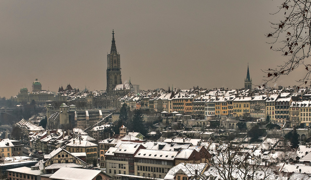 Rooftops of Bern winter. Chatedral and parlament