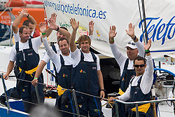 © Sander van der Borch.Alicante, 11 October 2008. Start of the Volvo Ocean Race. Bouwe Bekking and crew waving to the crowd as they leave the dock on their way to the start of the first leg.