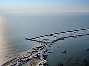 Nederland, Flevoland, Markermeer, 26-08-2019; Marker Wadden in het Markermeer. Westelijk deel archipel.<br /> Doel van het project van Natuurmonumenten en Rijkswaterstaat is natuurherstel, met name verbetering van de ecologie in het gebied, in het bijzonder de kwaliteit van bodem en water<br /> Naast het hoofdeiland is er inmiddels een tweede eiland in wording, de uiteindelijk Marker Wadden archipel zal uit vijf eilanden bestaan. <br /> Marker Wadden, artifial islands. The aim of the project is to restore the ecology in the area, in particular the quality of soil and water.<br /> The first phase of the construction, the main island, is finished. <br /> <br /> luchtfoto (toeslag op standard tarieven);<br /> aerial photo (additional fee required);<br /> copyright foto/photo Siebe Swart