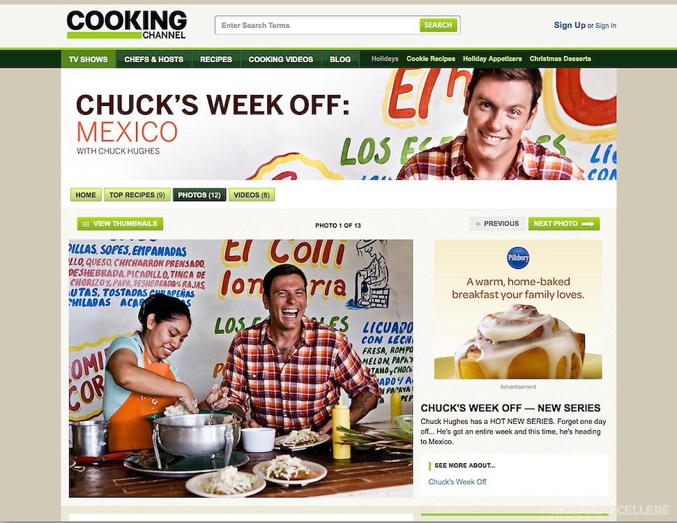 Chuck Hughes in Chuck's Week Off, for the Cooking Channel. 2011.