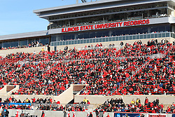 05 December 2015:  Fans watch the game from the east stands in Hancock. NCAA FCS Round 2 Football Playoff game between Western Illinois Leathernecks and Illinois State Redbirds at Hancock Stadium in Normal IL (Photo by Alan Look)