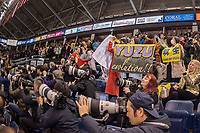 KELOWNA, BC - OCTOBER 25: Fans rise to their feet above international photographers after the mens short program of Japanese figure skater Yuzuru Hanyu at Skate Canada International held at Prospera Place on October 25, 2019 in Kelowna, Canada. (Photo by Marissa Baecker/Shoot the Breeze)