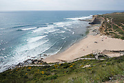 Ribeira dIlhas beach, a world class surfing location on 26th May 2018 near the town of Ericeira in Portugal. Ribeira d'Ilhas beach is Part of the World Surfing Reserve and is 2km north of Ericeira town.