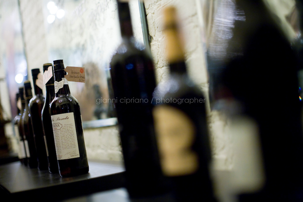 2 December, 2008. New York, NY. Bottles of Sherry are here on display at the entrance of the Tinto Fino spanish wine shop. The Tinto Fino spanish wine shop organizes a sherry tasting. Sherry is a fortified wine made from white grapes that are grown near the town of Jerez, Spain. In Spanish, it is called Vino de Jerez.<br /> <br /> ©2008 Gianni Cipriano for The New York Times<br /> cell. +1 646 465 2168 (USA)<br /> cell. +1 328 567 7923 (Italy)<br /> gianni@giannicipriano.com<br /> www.giannicipriano.com