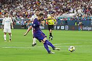 Barcelona Ivan Rakitic shoots at goal during the International Champions Cup match between Real Madrid and FC Barcelona at the Hard Rock Stadium, Miami on 29 July 2017.