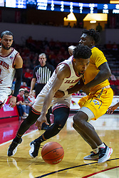 NORMAL, IL - December 07: Zach Copeland drives past the 3 point arch and Jordan Walker during a college basketball game between the ISU Redbirds and the Morehead State Eagles on December 07 2019 at Redbird Arena in Normal, IL. (Photo by Alan Look)