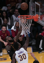 March 11, 2018 - Los Angeles, California, U.S - LeBron James #23 of the Cleveland Cavaliers goes for a layup during their NBA game with the Los Angeles Lakers on Sunday March 11, 2018 at the Staples Center in Los Angeles, California. Lakers defeat Cavaliers, 127-113. (Credit Image: © Prensa Internacional via ZUMA Wire)