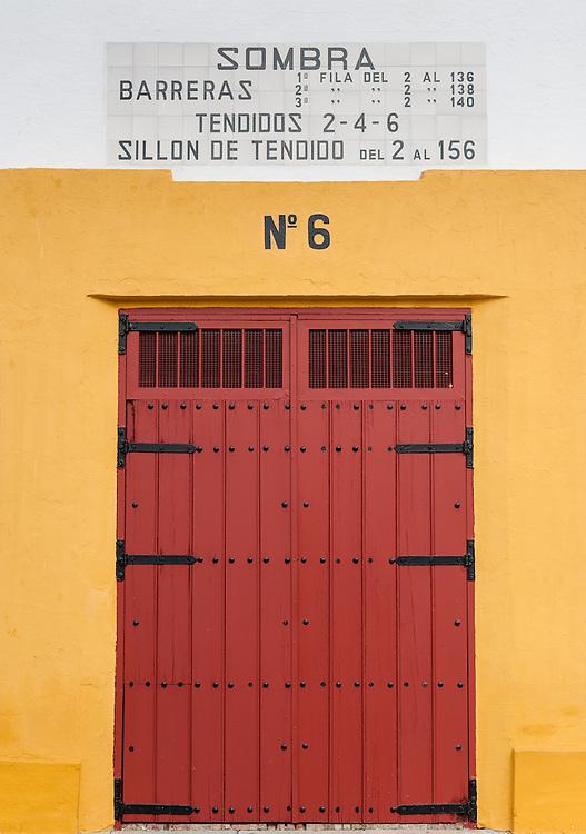 Maestranza bullring red door in Sevilla (Spain)