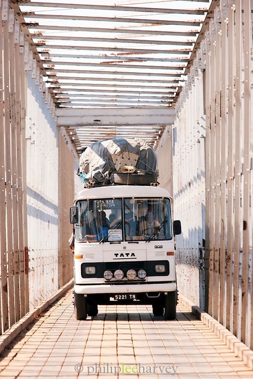 A loaded truck crossing a bridge at Amboasary Sud, near the Berenty Reserve, Madagascar