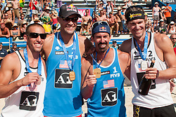 First two teams USA, Phil Dalhausser - Todd Rogers and Nick Lucena - Matt Fuerbringer,  at A1 Beach Volleyball Grand Slam tournament of Swatch FIVB World Tour 2010, bronze medal, on July 31, 2010 in Klagenfurt, Austria. (Photo by Matic Klansek Velej / Sportida)