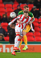 Preston North End's Patrick Bauer battles with Stoke City's Nick Powell<br /> <br /> Photographer Dave Howarth/CameraSport<br /> <br /> The EFL Sky Bet Championship - Stoke City v Preston North End - Wednesday 12th February 2020 - bet365 Stadium - Stoke-on-Trent <br /> <br /> World Copyright © 2020 CameraSport. All rights reserved. 43 Linden Ave. Countesthorpe. Leicester. England. LE8 5PG - Tel: +44 (0) 116 277 4147 - admin@camerasport.com - www.camerasport.com