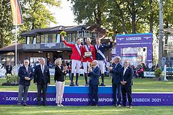 Individual podium, Thieme Andre, GER, Fuchs Martin, SUI, Fredricson Peder, SWE<br /> European Championship Riesenbeck 2021<br /> © Hippo Foto - Dirk Caremans<br /> 05/09/2021
