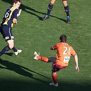 Tommy Oar scores Brisbanes first goal during the Central Coast Mariners V Brisbane Roar A-League match at Bluetongue Stadium, Gosford, Australia, 19 December 2009. Photo Tim Clayton