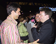 "Eric McCormack, Mike Myers & wife.EXCLUSIVE.""Austin Powers"" Post Premiere Party.Universal Studios.Hollywood, CA.July 22, 2002.Photo By Celebrityvibe.com.."
