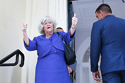 © Licensed to London News Pictures. 27/05/2019. London, UK. Ann Widdecombe MEP for South West England gives a thumbs up as she arrives at the EU election results press conference in Westminster. The newly formed Brexit Party wants the UK to leave the EU without an agreement won 10 of the UK's 11 regions, gaining 28 seats, more than 32% of the vote across the country and are largest party in nine regions. Photo credit: Dinendra Haria/LNP