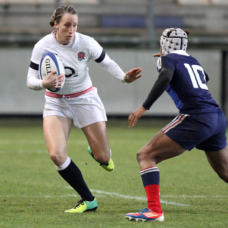 Kat Merchant in action. France Women v England Women in the Six Nations 2014 at Stade des Alpes, Grenoble, France on Saturday 1st February 2014, kick off 2055