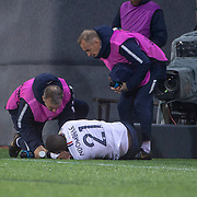 ANDORRA LA VELLA, ANDORRA. June 1.  Tanguy Ndombele #21 of France receives treatment for an injury during the Andorra V France 2020 European Championship Qualifying, Group H match at the Estadi Nacional d'Andorra on June 11th 2019 in Andorra (Photo by Tim Clayton/Corbis via Getty Images)