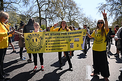 © Licensed to London News Pictures. 24/04/2021. London, UK. Anti-vaccination and anti-lockdown protesters take part in an organised demonstration in central London. It has been over a year since the UK went into lockdown due to the rise in Covid-19 cases. Photo credit: Ray Tang/LNP