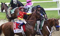 June 9, 2018 - Elmont, New York, U.S - Jockey MIKE SMITH aboard JUSTIFY gives the horse a soothing pat during the post parade shortly before the Belmont Stakes at Belmont Park in New York. They won the race, and Justify became the 13th horse in history to win the Triple Crown. (Credit Image: © Staton Rabin via ZUMA Wire)