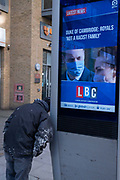 In response to Harry the Duke of Sussex and wife Meghans Oprah interview last weekend, Prince William, a masked Duke of Cambridge responds with a denial, that the royal family is not a racist family, as reported on a digital news screen on the Walworth Road in south London, on 11th March 2021, in London, England. In the US broadcast interview, both Harry and Meghan complained about racist remarks made by an unnamed family member, about the colour of their future babys skin colour.
