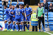 Aron Gunnarsson of Cardiff city (17)  celebrates with teammates after he scores his teams 1st goal. EFL Skybet championship match, Cardiff city v Nottingham Forest at the Cardiff City Stadium in Cardiff, South Wales on Easter Monday 17th April 2017.<br /> pic by Andrew Orchard,