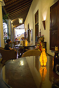 Evening drinks colonial style veranda bar of Galle Fort Hotel, historic town of Galle, Sri Lanka, Asia