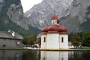 Germany, Bavaria, St. Bartholomew pilgrimage church at the Kings Lake Koenigssee