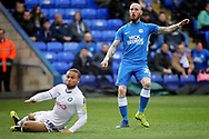 Peterborough Utd forward Marcus Maddison (21) scores his second and Posh's 4th goal 4-2 during the EFL Sky Bet League 1 match between Peterborough United and Wycombe Wanderers at London Road, Peterborough, England on 2 March 2019.