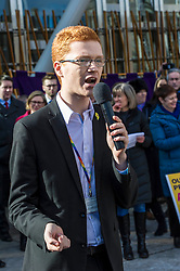 Pictured: Ross Greer, Scottish Green Party<br /> University pensions row rally was held outside the Scottish Parliament in Edinburgh today. University staff were joined by politicians and students as part of the strike action event. <br /> <br /> Ger Harley | EEm 8 March 2018