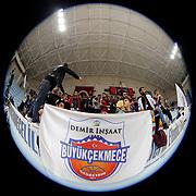 Demir Insaat Buyukcekmece Basketbol's supporters during their Turkish Basketball Spor Toto Super League friendly match Demir Insaat Buyukcekmece between Pinar Karsiyaka at the Gazanfer Bilge Arena in Istanbul Turkey on Saturday 17 October 2015. Photo by Aykut AKICI/TURKPIX