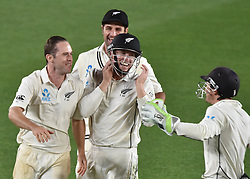 March 26, 2018 - Auckland, Auckland, New Zealand - Blackcaps celebrate taking wicket of James Anderson of England Day Five of the First Test match between New Zealand and England at Eden Park in Auckland on Mar 26, 2018. Blackcaps win by an inners and 48 runs (Credit Image: © Shirley Kwok/Pacific Press via ZUMA Wire)