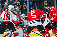 KELOWNA, BC - FEBRUARY 7: Joel Hofer #30 of the Portland Winterhawks keeps his eye on the puck after making a save against the Kelowna Rockets at Prospera Place on February 7, 2020 in Kelowna, Canada. Hofer was selected in the 2018 NHL entry draft by the ST. Louis Blues and is an IIHF World Junior Championship gold medalist with Team Canada. (Photo by Marissa Baecker/Shoot the Breeze)