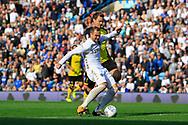 Leeds United striker Pierre-Michel Lasogga (9) shoots at goal during the EFL Sky Bet Championship match between Leeds United and Burton Albion at Elland Road, Leeds, England on 9 September 2017. Photo by Richard Holmes.