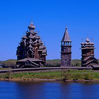 Europe, Russia, Kizhi Island. Church of Transfiguration, Bell Tower, and Church of Intercession on Kizhi Island.