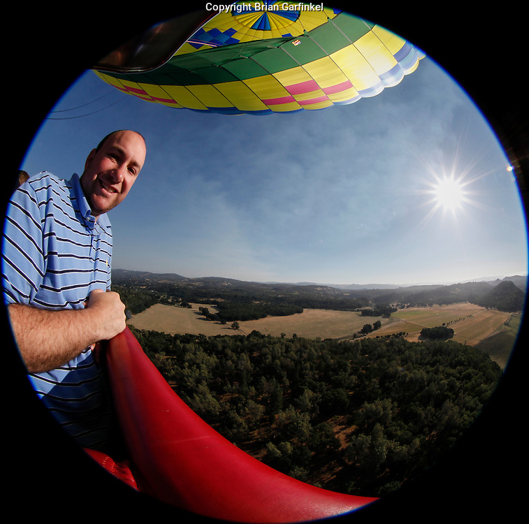 Brian during an Up & Away hot air balloon ride over Middletown, California on Saturday July 14th 2012. (Photo By Allison Caulfield)