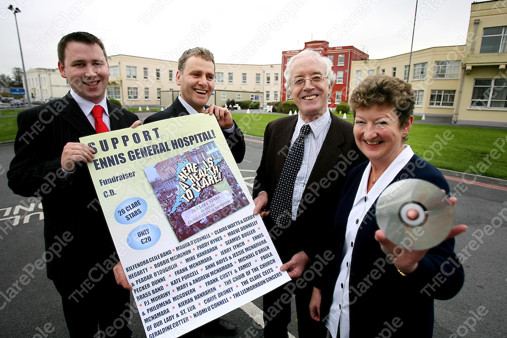 A new CD in aid of the Ennis General Hospital Development Committee's Fund to defend the Hospital will be launched at the Templegate Hotel on Monday night next November 13th , from left are Cllr Joe Carey,Cllr Brian Meaney.PRO,Peadar McNamara ,Chairman and Staff Nurse Mairead McNamara.<br /><br />Photograph by Eamon Ward