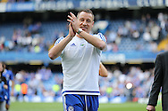 John Terry, the Chelsea captain applauds the fans during a walk around the pitch after full time.Barclays Premier league match, Chelsea v Leicester city at Stamford Bridge in London on Sunday 15th May 2016.<br /> pic by John Patrick Fletcher, Andrew Orchard sports photography.