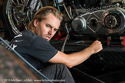 Cycle Zombies' Scotty Stopnik working in his garage. Huntington Beach, CA. USA. June 29, 2015.  Photography ©2015 Michael Lichter.