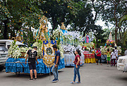 A vibrant float made in honour of 'Nuestra Senora de las Saleras' or 'Our Lady of the Vessel of Salt' for the Grand Marian Parade in Intramuros, Metro Manila, Philippines.