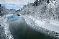 Winter along the Birkenhead River near Pemberton, Coast Mountains British Columbia