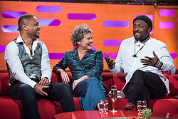 (left to right) Cuba Gooding Jr, Imelda Staunton, and Will.i.am during filming of the Graham Norton Show at The London Studios, to be aired on BBC One on Friday.