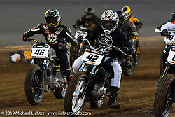 Rich Heverly (number 42) and Aaron Guardado (number 46) in the front line Hooligan Racing during the American Flat Track TT at Daytona International Speedway - Daytona Bike Week. Daytona Beach, FL. USA. Thursday March 15, 2018. Photography ©2018 Michael Lichter.