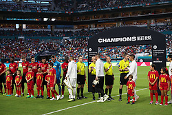 July 31, 2018 - Miami Gardens, Florida, USA - Teams and officials meet on the field during the opening ceremony of an International Champions Cup match between Real Madrid C.F. and Manchester United F.C. at the Hard Rock Stadium in Miami Gardens, Florida. Manchester United F.C. won the game 2-1. (Credit Image: © Mario Houben via ZUMA Wire)