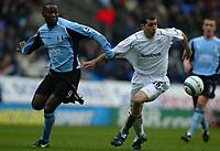 Photo: Chris Brunskill, Digitalsport<br />  Bolton Wanderers  v Fulham. FA Barclays Premiership. 09/04/2005. Andy Cole of Fulham battles with Tal Ben Haim of Bolton.