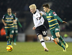 Derby County's Will Hughes battles with Queen Park Rangers' Tommy Carroll - Photo mandatory by-line: Matt Bunn/JMP - Tel: Mobile: 07966 386802 10/02/2014 - SPORT - FOOTBALL - Derby - Pride Park - Derby County v QPR - Sky Bet Championship